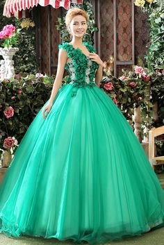 Vert robe de bal en tulle bracelet en lacets longueur de plancher de fleurs à la main avec une robe de couleur after-party dress Cfz0023