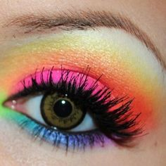 Tumblr ❤ liked on Polyvore featuring beauty products, makeup, eye makeup, eyes, rainbow, beauty and rainbow eye makeup
