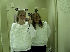 Easy sheep costumes I made for my friend and I. Got all the stuff at dollar tree (; Long sleeve shirts, cotton balls, Elmer's glue, and headbands.
