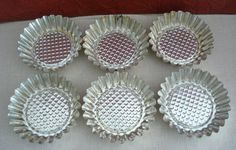 "Lot of 6 Metal Sunflower Tart Tins 3 3/4' x 1"" Baking Soap Making Crafts Upcycle #Unbranded"