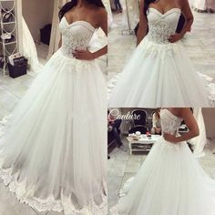 2016 Lace Beaded A-line Wedding Dresses, Sweetheart Lace Trim Sheer Elegant Bridal Gowns