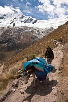 Headed to Huarez along a path in the Cordillera Mountains, Peru. Huarez is located in the central part of the Callejon de Huaylas Valley and on the right side of the river Santa. The city has an elevation of approximately 3050 metres.