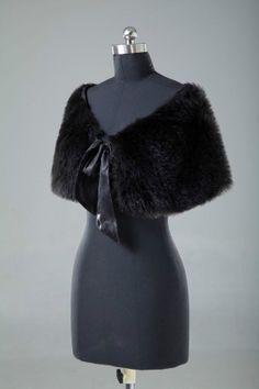 2014 New Black Faux Fur Bride Shrug Stole Bolero Wedding Cape Coat Wrap Bride Shawls