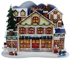 "20"" Decorative Santa's Village Wooden Christmas Advent Calendar with Ornaments"
