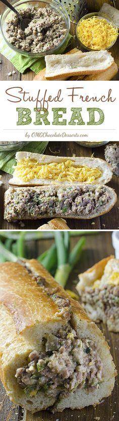 Stuffed French Bread | OMGChocolateDesserts.com | #french #bread #recipe