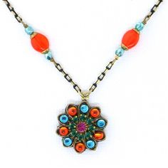 Michal Golan Jewelry at Artfully Adorned Prismatic Necklace Orange & Blue Flower N3237