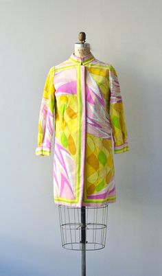 Vintage 1960s Pucci coat in lightweight cotton velvet with mandarin collar, cuffed sleeves, button and snap front and full lining.    --- M E A S U R