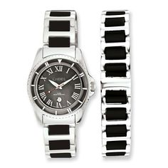 391a8598a9a9 Ladies Chisel Ceramic   Stainless Steel Black Dial Watch   7.5in Bracelet