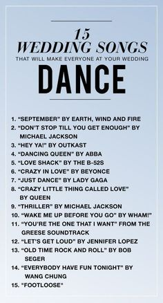 15 Songs That Will Make Everyone At Your Wedding DANCE. http://leonardofilms.ca