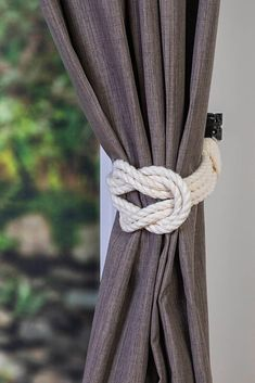 Cotton Rope Double Square Knot Nautical Curtain Tie-Backs/ Shabby Chic Ivory White Curtain hold-Backs / Nursery Window Treatment / Rope Ties Pergola Curtains, Lined Curtains, White Curtains, Cheap Curtains, Rope Curtain Tie Back, Curtain Tie Backs, Rope Tie Backs, Grey And Beige, Ivory White