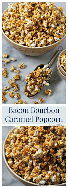 Bacon Bourbon Caramel Popcorn from CookingInStilettos.com is the ultimate salty sweet treat with a bit of a boozy kick.  Crisp black pepper bacon is tossed with fluffy homemade popcorn in a buttery rich bourbon caramel and baked to perfection | @CookInStilettos