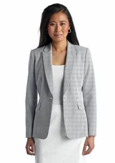 Tahari ASL  One Button Seersucker Jacket