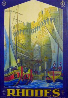 1927 Original Italian Art Deco Travel Poster, Rhodes ENIT Poster by the artist Di Fausto Florentino Vintage Italian Posters, Vintage Travel Posters, Vintage Ads, Poster Ads, New Poster, Poster Prints, Advertising Poster, Art Deco, Amazing Street Art
