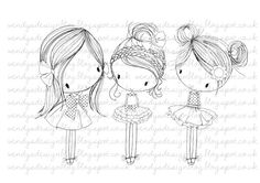 All Dressed Up Three Little Party Girls by wendyburnsdesign, £3.00