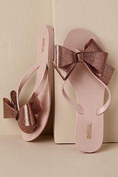 Harmonic Bow Flip-Flop Sand/Sable in Shoes & Accessories Pretty Sandals, Pretty Shoes, Cute Shoes, Melissa Shoes, Fashion Slippers, Fashion Sandals, Bridal Shoes, Wedding Shoes, Bow Flip Flops