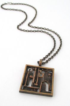 Jorma Laine, Finland - vintage Scandinavian Modernist bronze 'open door' pendant necklace