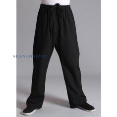 Men tai chi trousers gym kung fu pants martial arts #sports #loose #cotton black,  View more on the LINK: http://www.zeppy.io/product/gb/2/331433526590/