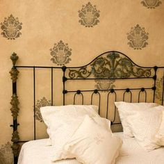 Paint your furniture or specific areas of your walls with easy-to-use wall motifs! This Grand Damask Wall ArtStencilpattern coordinates with our larger Grand
