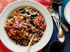 Recipe of the Day: Grilled Caponata Add briny kalamata olives and capers, crunchy pinenuts and golden raisins to the mix and you'll get a salty-sweet salad with a light touch of charred flavor from grilling.