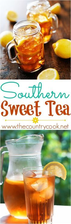 Southern Sweet Tea recipe from The Country Cook. The best recipe with a secret ingredient to make it come out perfect every time! Gallon Sweet Tea Recipe, Sweet Tea Recipe With Baking Soda, Best Iced Tea Recipe, Tea Punch Recipe, Lemonade Tea Recipe, Sweet Tea Recipes, Iced Tea Recipes, Southern Sweet Tea, Southern Comfort Drinks