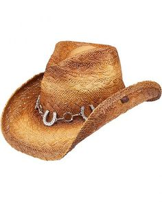15499733266 Peter Grimm Ltd Women s Judson Horseshoe Chain Straw Cowgirl Hat - Hand  Woven Construction Silver-tone chain hat band features rings and horseshoes  bedecked ...