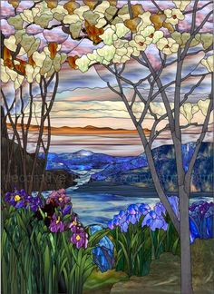 Decorative Window Film Stained Glass | Magnolia and Irises Faux Privacy Stained Glass Clings and Window Films