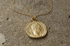 Gold Coin Necklace Gold Pendant Necklace Coin by HLcollection, $26.00