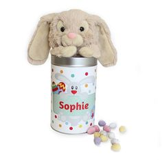 This Personalised Tin with enclosed Bunny Rabbit will make the perfect surprise gift this Easter.