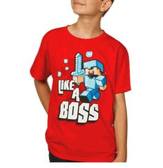 Own it with Minecraft Like a Boss Youth T-shirt. ComputerGear.com.
