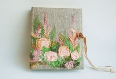 Embroidered  Photo album Rustic Wedding photo album by Indrasideas, $155.00