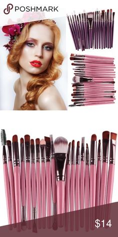 20pc Makeup Brushes set 100% brand new and high quality  Quantity: 20pcs/set  Item type:Make up brush  Material:Goat hair  Handle material:Wood  Brush material:Synthetic    Suitable for Professional use or Home use  With proper care, your brushes can be enjoyed for years.   Item included: Foundation Powder Brush,Lip Brush,Mascara Brush,Eyeshadow Brush,Two Side Brush,Eyebrow Mascara Brush,Sponge Brush,Smudge Brush,Nose Shadow Brush,Eyeliner Brush Makeup Brushes & Tools