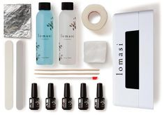 The Lomasi DIY kit ($85) comes with everything you need (base gel, color, nail buff, curing light, etc.) to create at-home gel manicures or pedicures in five simple steps.