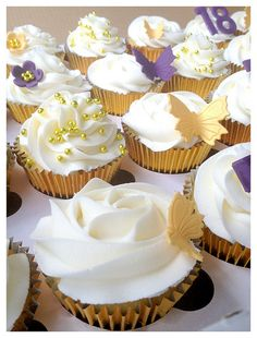 Purple and gold Butterfly Cupcakes