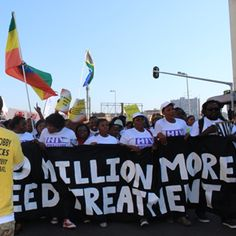 Civil society groups took to the streets of Durban today (Monday), a few hours before the opening of International AIDS Conference, pleading for governments to increase funding for HIV. Civil Society, Conference, 21st, Medical, Medicine, Med School, Active Ingredient