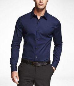 Marine Extra Slim Fit French Cuff Shirt // urban men // mens fashion // mens wear // mens accessories // casual men // mens style // urban living // gift ideas for him // gift ideas for men // quotes // for him // Father's Day Stylish Men, Men Casual, Casual Shirt, Dark Blue Shirt, Dark Navy, Navy Blue, Moda Formal, French Cuff Shirts, Men Dress