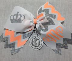 Monogrammed Cheer Bow with Chevron & Crown by KallysBOWtique, $15.00