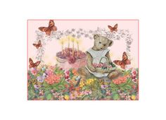 Illustrated teddy bear in garden, birthday cake Greeting Card