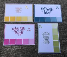 Stampin' by candlelight: 4 cards, 1 stamp set and 1 simple design - layerin. Layering love stamp set, color theory Designer series paper, stampin' up! Paint Chip Cards, Paint Sample Cards, Paint Samples, Stamping Up Cards, Card Sketches, Scrapbook Cards, Scrapbooking, Card Tags, Creative Cards