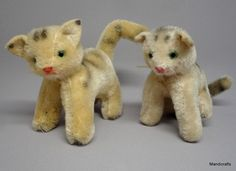 #Tabby #Cat x 2 Mohair Plush Sitting Standing 9cm 3.5in #Germany c1960s Unjointed Unbranded AllOccasion