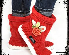 Crochet Boots Crochet Knitted Shoes Outdoor Boots for the Street Folk Tribal Boho s hippie Made to Order pattern crochet cuffs Crochet Boots, Love Crochet, Hand Crochet, Knit Shoes, Flip Flop Shoes, Crochet Fashion, Handmade Crafts, Shoe Boots, Baby Shoes