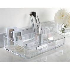 Image detail for -White Cosmetic Bathroom Vanity Wooden Beauty Organizer | eBay
