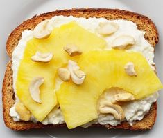 Toast with cottage cheese, pineapple, and cashews. | 21 Healthy Power Snacks That Will Boost Your Studying Game