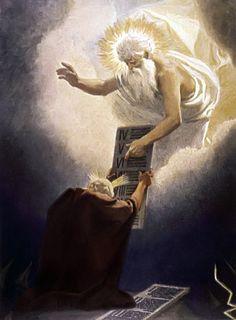 Moses Given the Tablets, Gebhard Fugel c. 1900, high resolution image