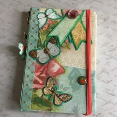 Pretty little notebook. x hand decorated with lovely butterflies, beads, charms and gems. Inside has Pocket at the back, ribbon page marker, and elastic closure. Paper is lined. Page Marker, Pretty Little, Gifts For Friends, Butterflies, Notebook, Gift Wrapping, Pocket, Paper, Marque Page