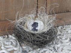 Bird Nest French Silhouette Pumpkin Shabby Rustic Distressed Home Decor