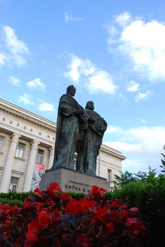 The statue of the Saints Cyril and Methodius in front of the National Library in Sofia, Bulgaria