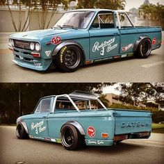 Thoughts of this #datsun #521 #rocketbunny kit. Well keep on rollin these trucks for 5/21 day. Tag a friend. Whats in your garage? #datsun521 #datsungarage #521truck
