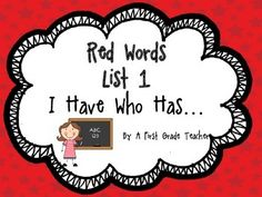I Have Who Has...Orton Gillingham Style Red Words LIST 1