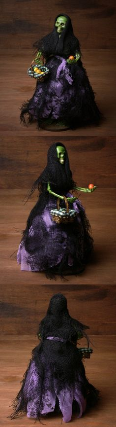OOAK Miniature Skeleton Witch for your Dollhouse or Halloween Scene by DinkyWorld on Etsy