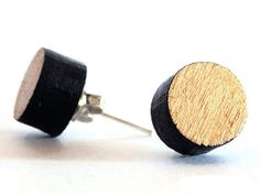 If you like it, buy it! Koci is a pair of laser cut wood gold stud earrings.  The wood ear #studs are hand painted and hand finished with a glossy finish.  You'll receive also its own paper stud ea... #studearrings #woodearrings #postearrings #mensstuds #studearrings